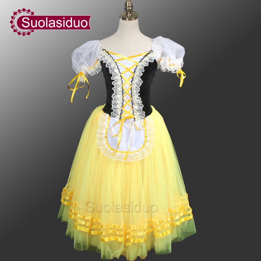 Giselle Degas Ballet Tutu Dresses Peasant  Yellow Dress Girls Romantic For Adults SD0003D