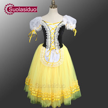 Giselle Degas Ballet Tutu Dresses Peasant  Yellow Dress Girls Romantic For Adults SD0003D