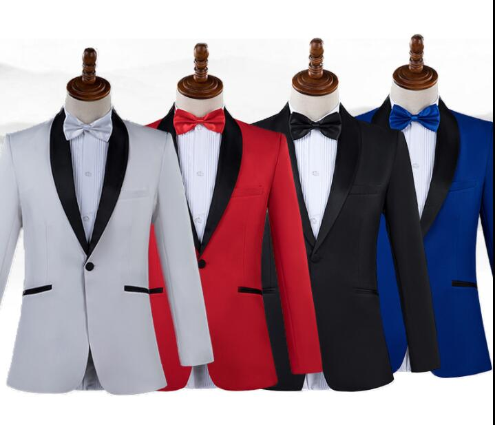 Singer Star Style Dance Stage Clothing Men Groom Suit Set With Pants 2019 Mens Wedding Suits Costume White Formal Dress