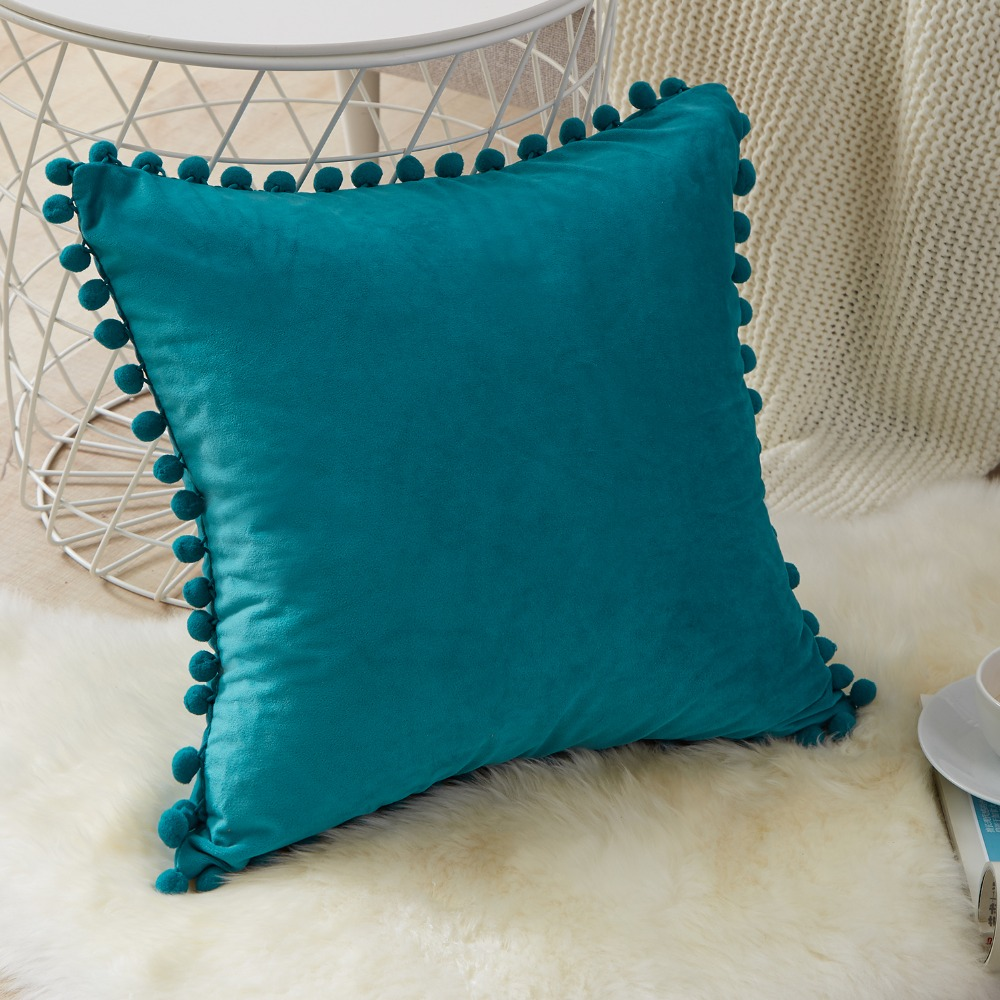 YokiSTG Soft Velvet Pillowcases Solid Cushion Cover Square Decorative Pillows With Balls For Sofa Bed Car Home Throw Pillow