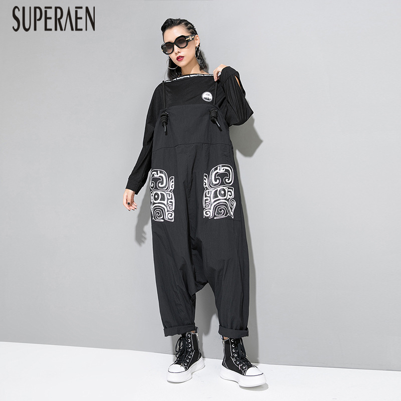 SuperAen New Europe Women   Pants   2019 Summer Cotton Wild Fashion Casual Ladies   Pants   Print Pluz Size   Wide     Leg     Pants   Overalls