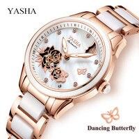 YASHA Women Ceramic Clock Butterfly Design Women S Mechanical Watch Top Brand Luxury Women Sapphire Crystal