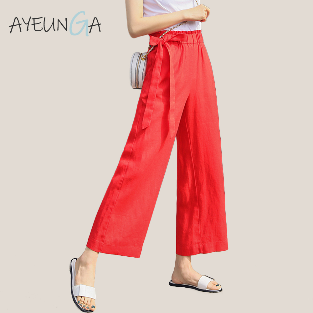Summer Casual Loose   Wide     Leg     Pants   Cotton Linen Lace Up Bow Office   Pants   Holiday Solid Elasticated Waist   Wide   Trousers For Women
