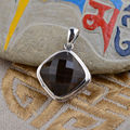 Thai Silver 925 Sterling Silver Natural Stone Pendant Square Citrine Inlaid Antique Style Female Crystal Jewlery