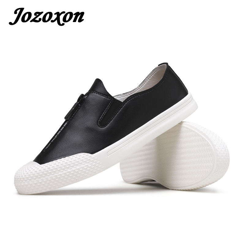 Jozoxon 17 Men Vulcanize Shoe Leather Casual Shoe Croc Creepers Zipper Uomo Shoe Steel Cap Shoes Spring Rubber Sole Slip-on Shoe