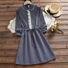 b665d3e236a1 Mori Girl 2018 Япония стиль демисезонный для женщин Милое Платье Винтаж  плед хлопок лен Vestidos платья с длинными рукавами круж.