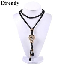 Black Chains Long Necklace Women Bijoux Big Statement Crystal Balls Necklaces & Pendants New Fashion Jewelry Dress Accessories