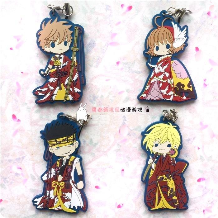 Tsubasa Resevoir Chronicle Anime Kurogane Fay SAKURA HIME LI SYAORAN CARDCAPTOR SAKURA Rubber Keychain все цены