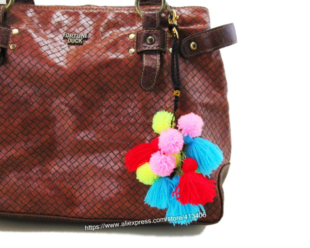Handmade Bohemian Key Pom Charm Bag Hanger Trim Of Thai Indian Hmong Hippie Handbag Accessories Sp 001 In Parts From
