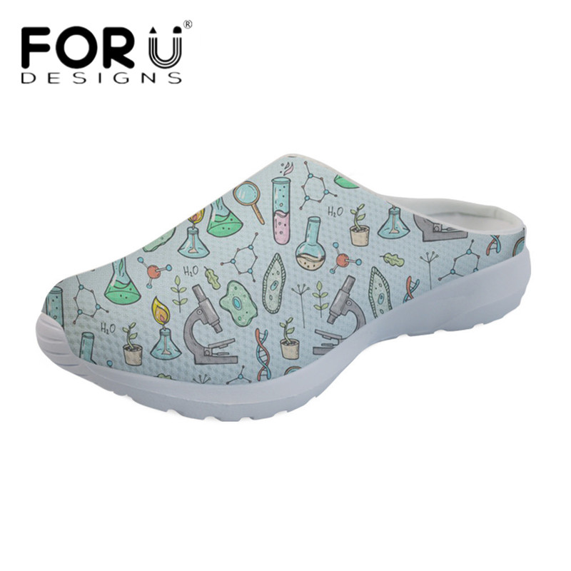 FORUDESIGNS Casual Light Weight Sandals Women Cute Cartoon Science Print Slip-on Beach Water Slippers Female Loafers Breathable instantarts cute cartoon nurse print air mesh sandals women summer casual breathable slip on shoes beach slippers zapatos mujer