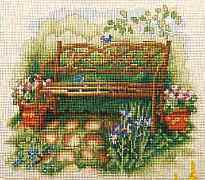 Fishxx Cross Stitch,C216scenery[chair 2]garden cane boudoir cotton,soluble,100% accurate pattern,11CT,Need to embroidery