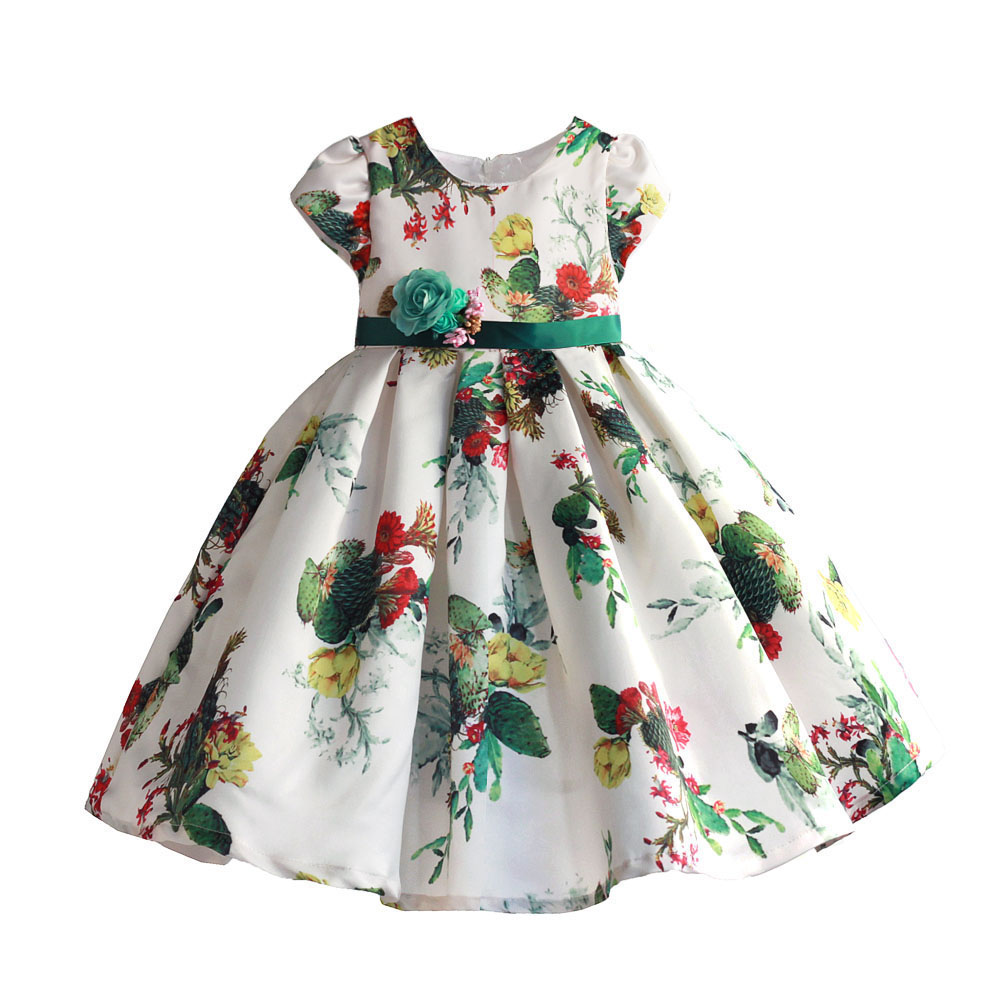 2632c7399210 Girls Dress Cactus Print Soft Party Holiday Performance Kids Dresses For  Girls Baby Girl Summer Clothes Size 3-8T