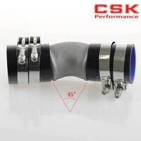 2.5 Cast Aluminum 45 Degree Elbow Pipe Turbo Intercooler+ silicone hose kit BLACK