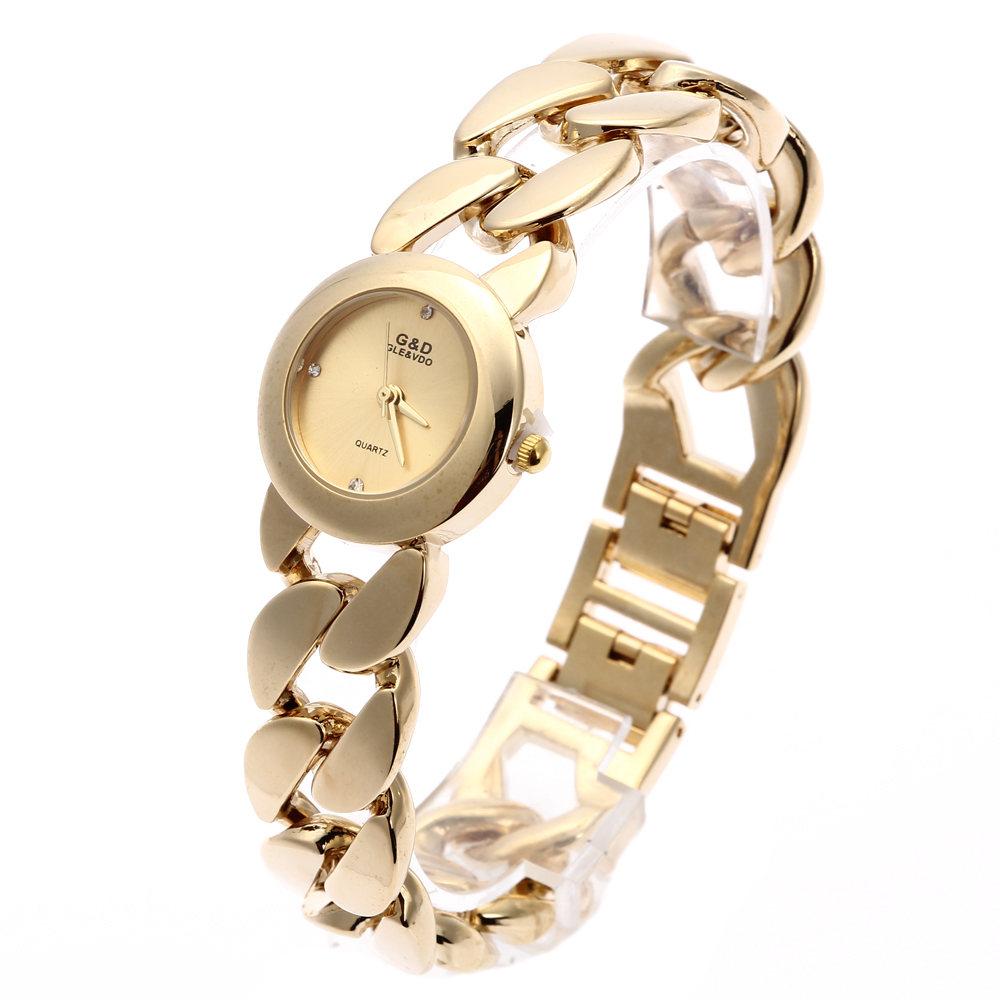 2018 New Fashion G & D Wanita Wrist Watch Emas Rantai Tunggal Stainless Steel Band Analog wanita Luxury Mode Quartz Jam Tangan