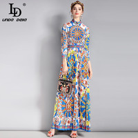 LD LINDA DELLA New 2018 Fashion Runway Vintage Maxi Dress Women S 3 4 Sleeve Classic