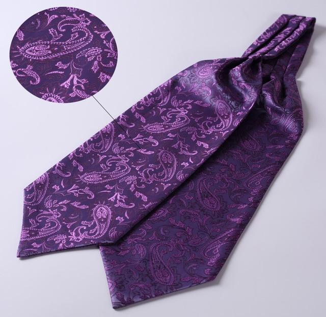 RF310PS Purple Paisley  Ascot Tie Pocket Square Woven Men Party wedding Tie Necktie Handkerchief Set 2