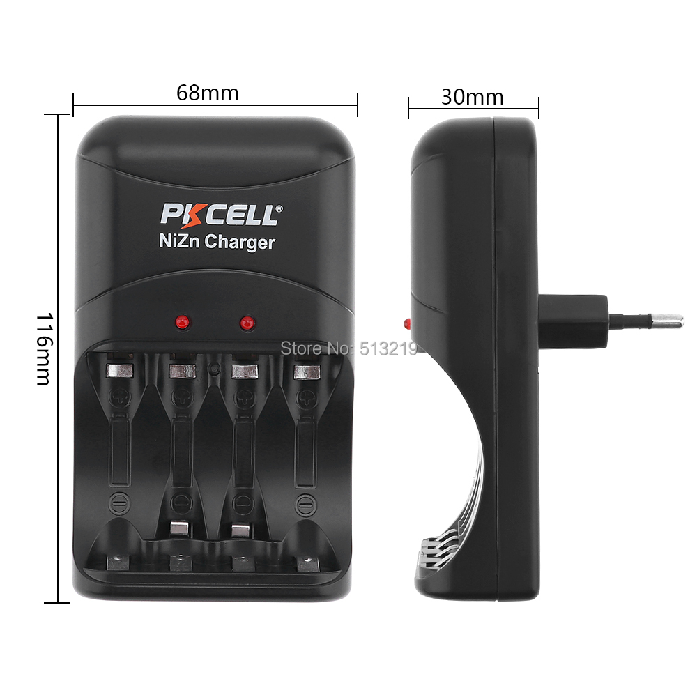 4Pcs PKCELL AA Batteries 1 6V 2250mWh to 2500mWh NI ZN aa Rechargeable Battery packed with Ni Zn Battery Charger EU US PLug in Replacement Batteries from Consumer Electronics