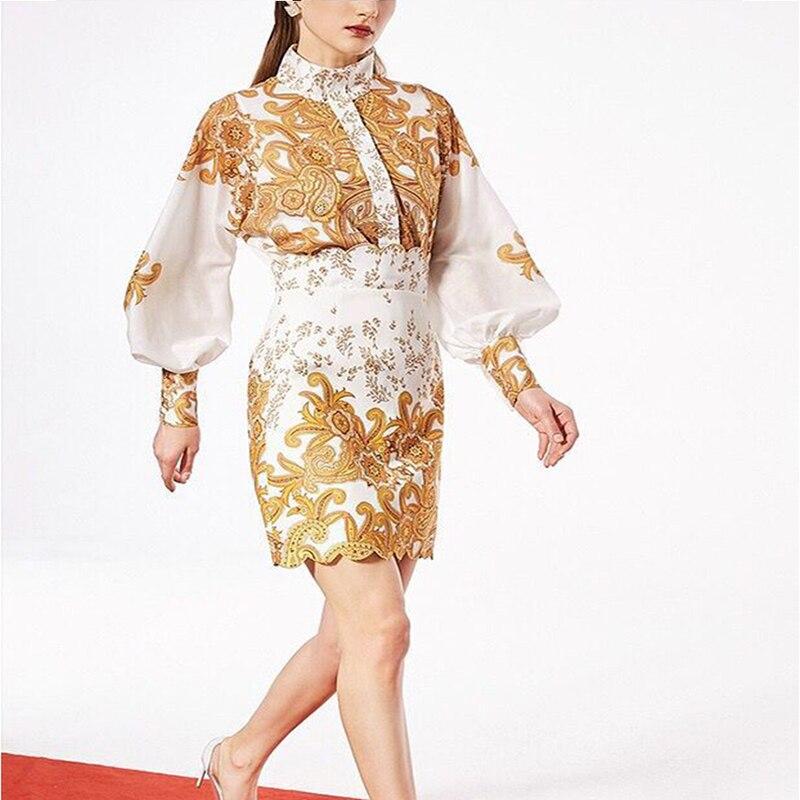 2019 nouveau costume de Designer élégant ensemble femmes superbe broderie Blouse chemise Mini jupe ensemble