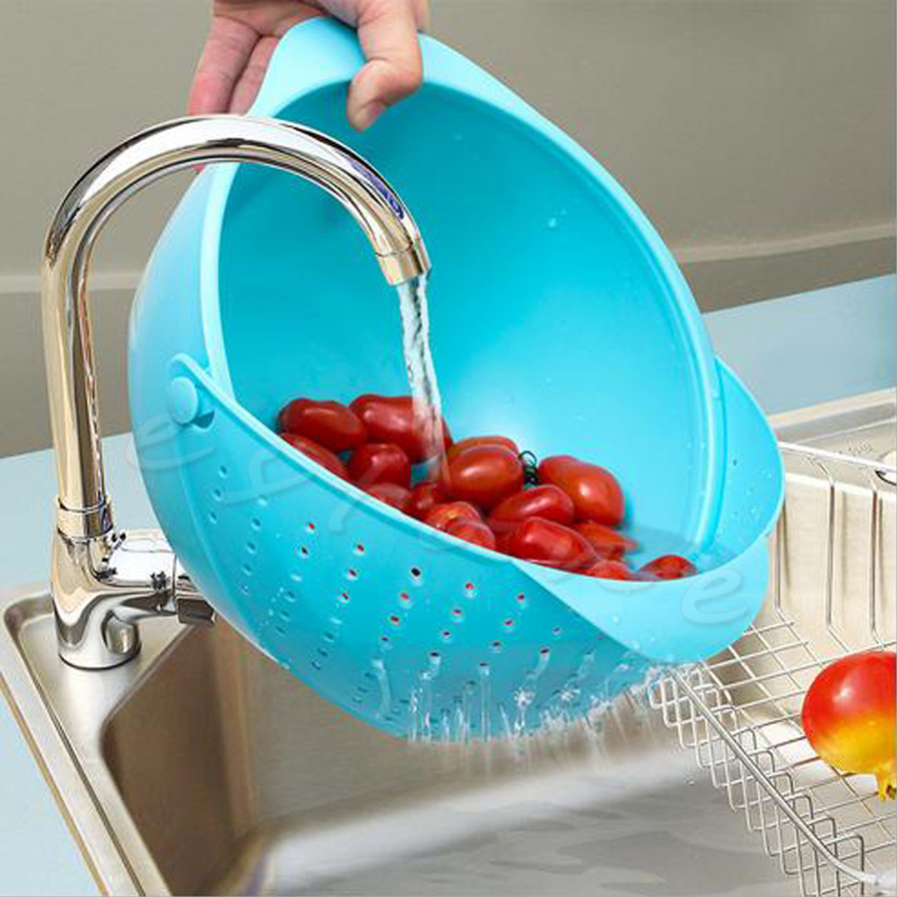 1Pc 2 in 1 Wash Rice Sieve Vegetable Basin Fruit Bowl Fruit Basket ...