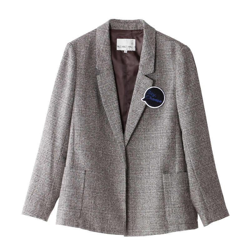 Toyouth Vintage Plaid Blazer Kerah Satu Tombol Lengan Panjang Kasual Pakaian Casaco Femi Wanita Blazer dan Jaket
