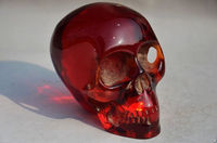 11.5 cm */ Elaborate Collectible Decorate Handwork Old artificial amber resin skull statue
