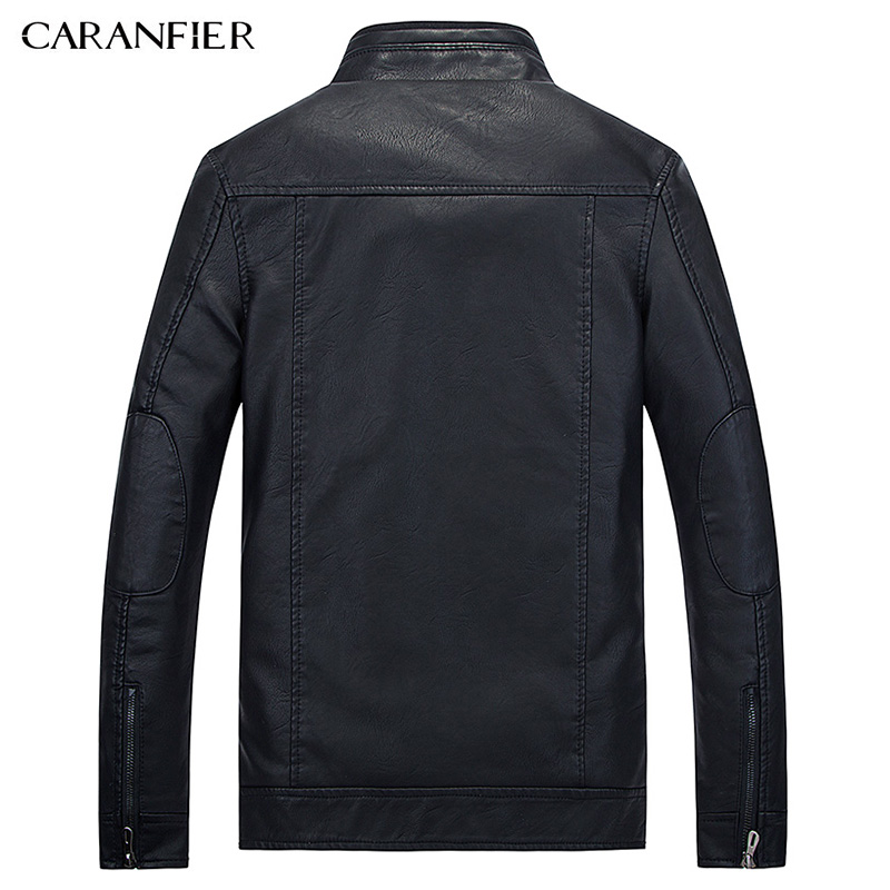 CARANFIER New Male leather Jacket Biker Men Jacket Punk Motorcycle Bomber Simple PU Leisure Mens Faux Fur Coats M L XL 2XL 3XL 1