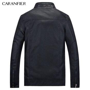 CARANFIER New Male leather Jacket Biker Men Jacket Punk Motorcycle Bomber Simple PU Leisure Mens Faux Fur Coats M L XL 2XL 3XL 1