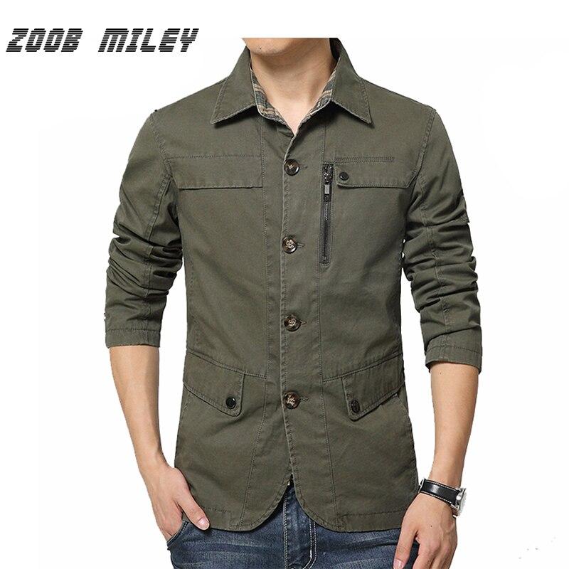 ZOOB MILEY mode vestes et manteaux hommes automne printemps grande taille M-4XL coton casual vêtements d'extérieur pour hommes noir kaki Armygreen