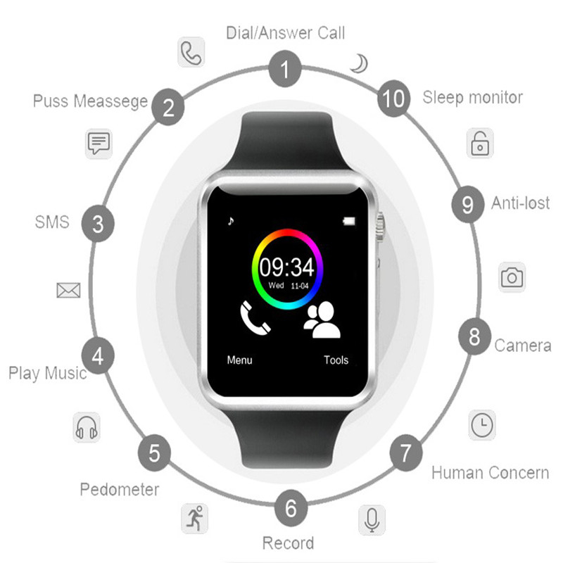 Smart Watch Men GT08 With Touch Screen Big Battery Support TF Sim Card Camera For IOS IPhone Xiaomi Samsung Huawei Smartwatch