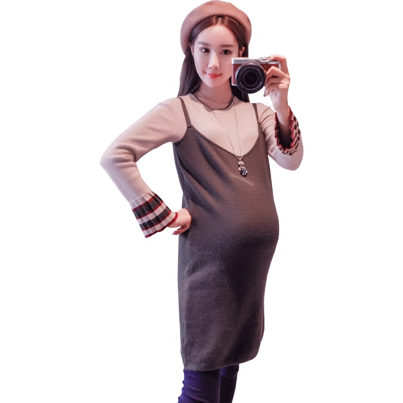 2018 summer high neck soft knitted cotton maternity dress & clothes for pregnant women pregnancy clothing