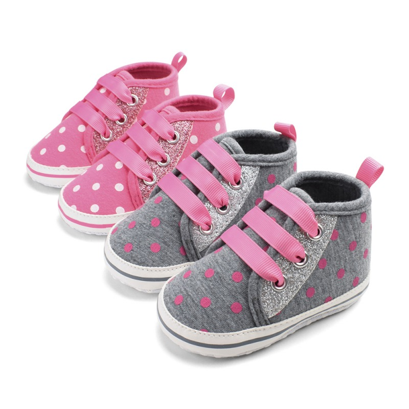 Newborn Baby Canvas Shoes Love Embroidered Elastic Band Dot Print Toddler First Walker