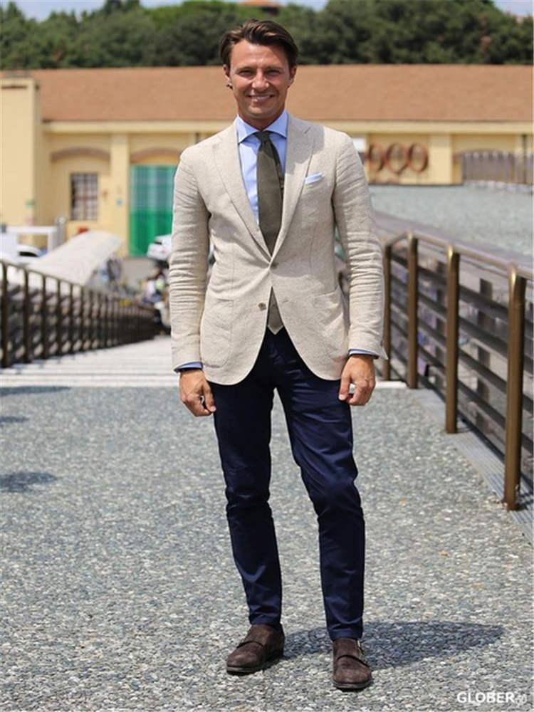 Fashion Jacket Design Black With Beige Jacket Men's Wedding Suit Groomsman Dress 2 Pieces (coat + Pants + Tie)