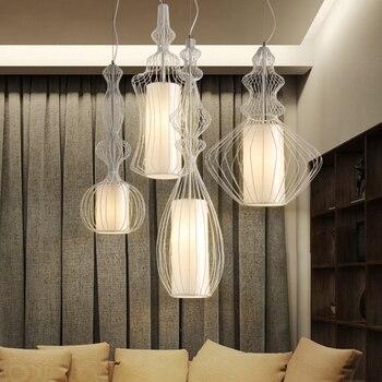 Nordic Modern Big Nobles Pendant Lights Fixture American White Black Bird Cage Droplights Home Indoor Lighting Hanging Lamps