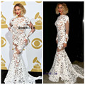 2015 Sexy Beyonce Evening Mermaid Open Back Long Sleeves See-Through White Lace Grammy Awards Celebrity Dresses