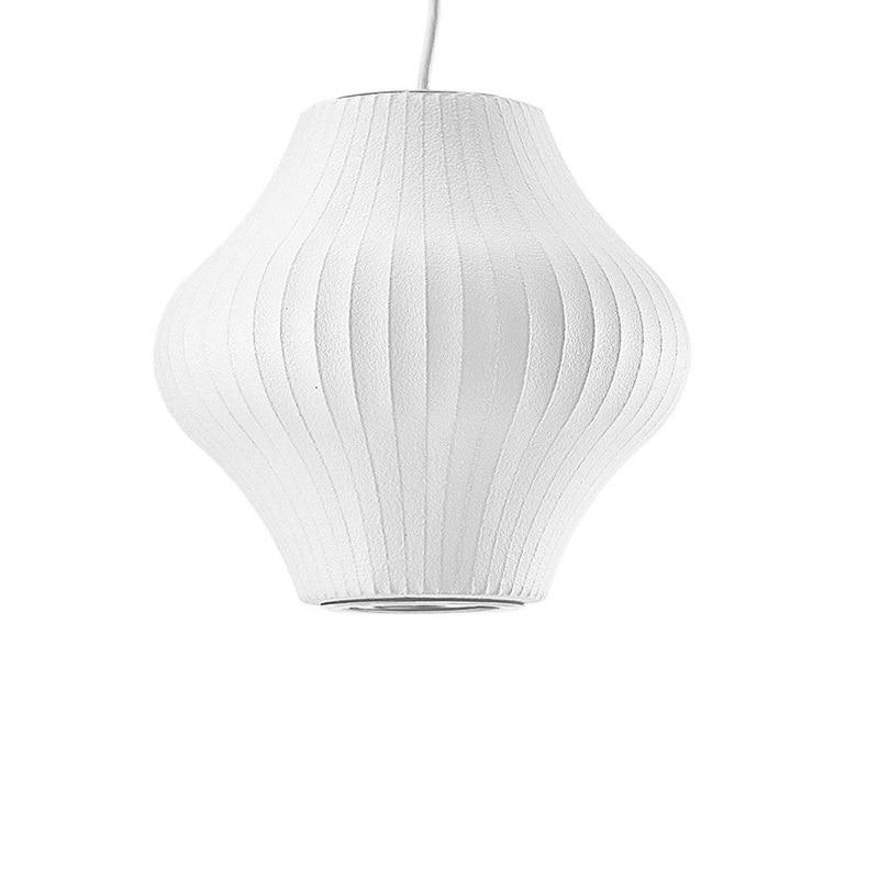 € 148.58 5% de réduction|Poire lampe pendante en soie blanche tambour en  métal lumières pour salon chambre hôtel Restaurant Suspension luminaires ...
