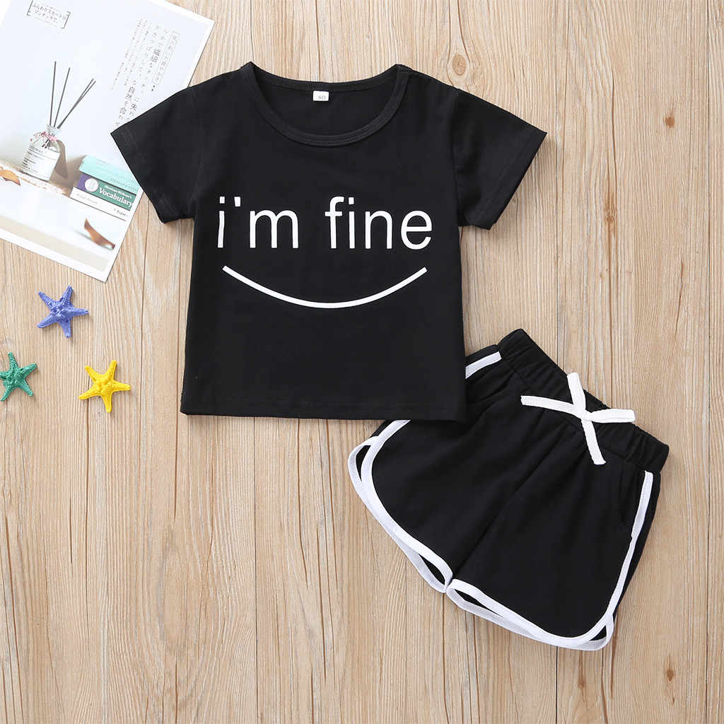 Korean Toddler Girl Clothes 2 Pcs Children Clothing Set Kids Sport Suit Summer T Shirts Pants For Girls Baby 1 2 3 4 5 Years