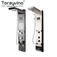 Torayvino LED Bath Shower Faucet Temperature Digital Display Shower Panel Body Massage System Jets Towel Shower Column Faucet