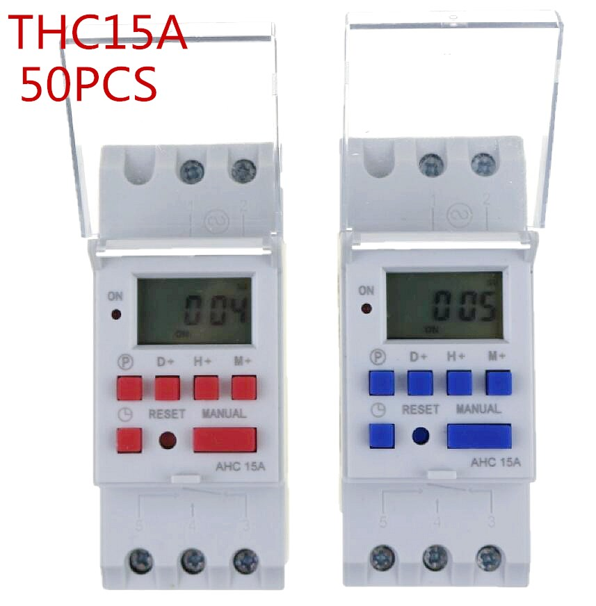 50pcs thc15a Din rail timer relay time switches weekly programmble electronic TIME SWITCH bell ring device thc15a zb18b timer switchelectronic weekly 7days programmable digital time switch relay timer control ac 220v 30a din rail mount
