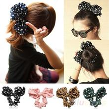 Hot Lovely Big Rabbit Ear Bow Headband Ponytail Holder Hair Tie Band Headwear Korean Style for Women Accessories 0IN3