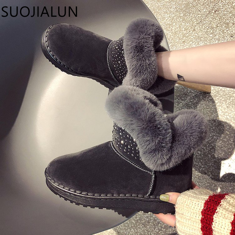 SUOJIALUN 2018 Women Boots Warm Snow Winter Boots Female Fashion Women Shoes Faux Suede Ankle Boots Plush Warm Flat Shoes woman snow boots women winter shoes women s ankle boots fashion casual flat warm plush shoes female ladies 2017 new or400880