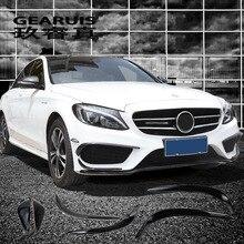 Стайлинга автомобилей туман лампы решетка рейки Авто черный Противотуманные фары Крышка Стикеры украшения отделка для Mercedes Benz C Class W205 аксессуары