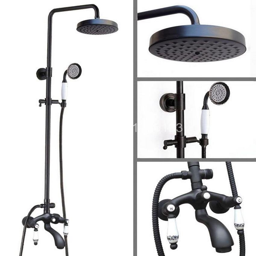 Black Oil Rubbed Bronze Wall Mounted Bathroom 7.7 Rainfall Shower Faucet Set Bath Tub Water Tap Dual Ceramics Handles ahg138