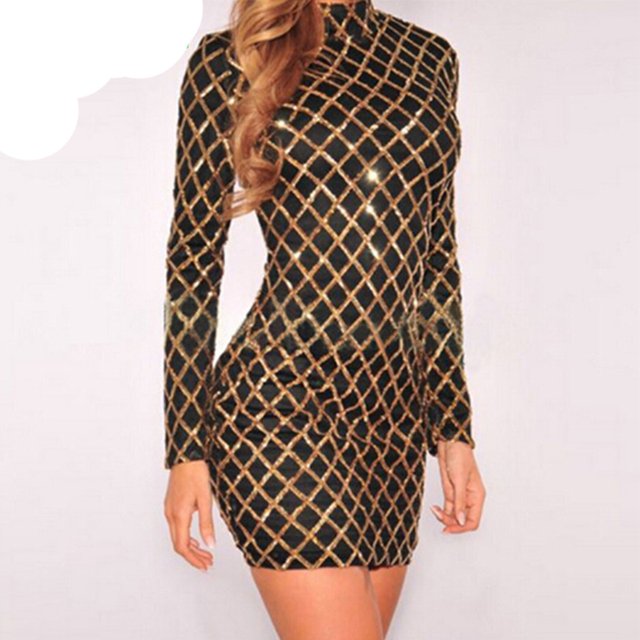 2017 gold pailletten dress sexy bodycon langarm mantel muster mesh ...