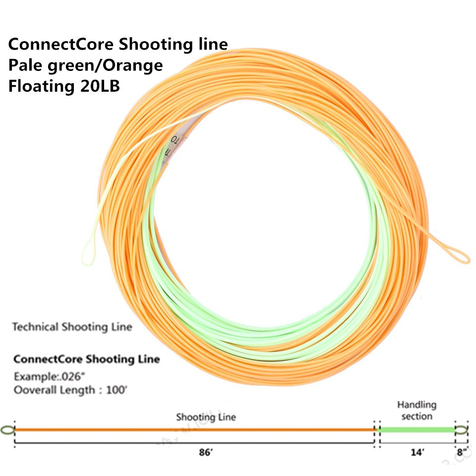 Maximumcatch ConnectCore Shooting line 100ft 20lb/30lb Floating Weight Forward Fly Fishing Running Line with 2 Welded Loops maximumcatch 100ft wf4 5 6 7 8f switch fly fishing line weight forward floating fly line with two welded loops fishing line