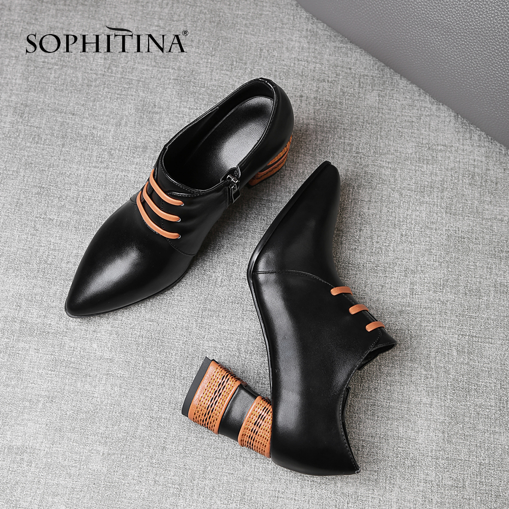 SOPHITINA Basic Fashion Women s Pumps Zipper Cow Leather Pointed Toe Casual Square Heel Shoes Handmade