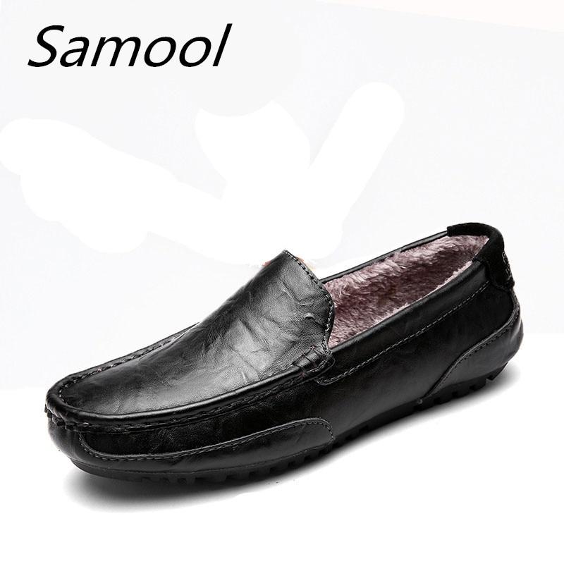 Fashion Casual Driving Shoes  Leather round toe  Men Shoes 2017 New Men Flats Shoes 3 colors  Men short  plush  Peas shoes  xxz5