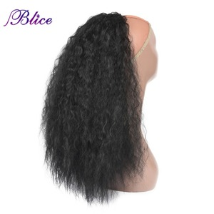 Blice Synthetic 20-24 inch Kinky Curly Ponytail Heat Resistant Hair Extensions With Two Plastic Combs All Colors Available