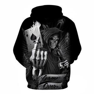 Image 2 - Sudaderas con capucha de calavera de póker para hombre, chándal con capucha 3d, suéter divertido de moda, ropa de calle de otoño, chándal de marca para hombre