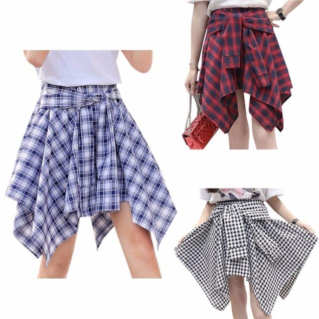 6bddba81cb329 US $6.82  Womens Girl Elastic Waist Plaid School Skater Mini Skirt Causal  Knot Front skirts-in Skirts from Women's Clothing on Aliexpress.com   ...