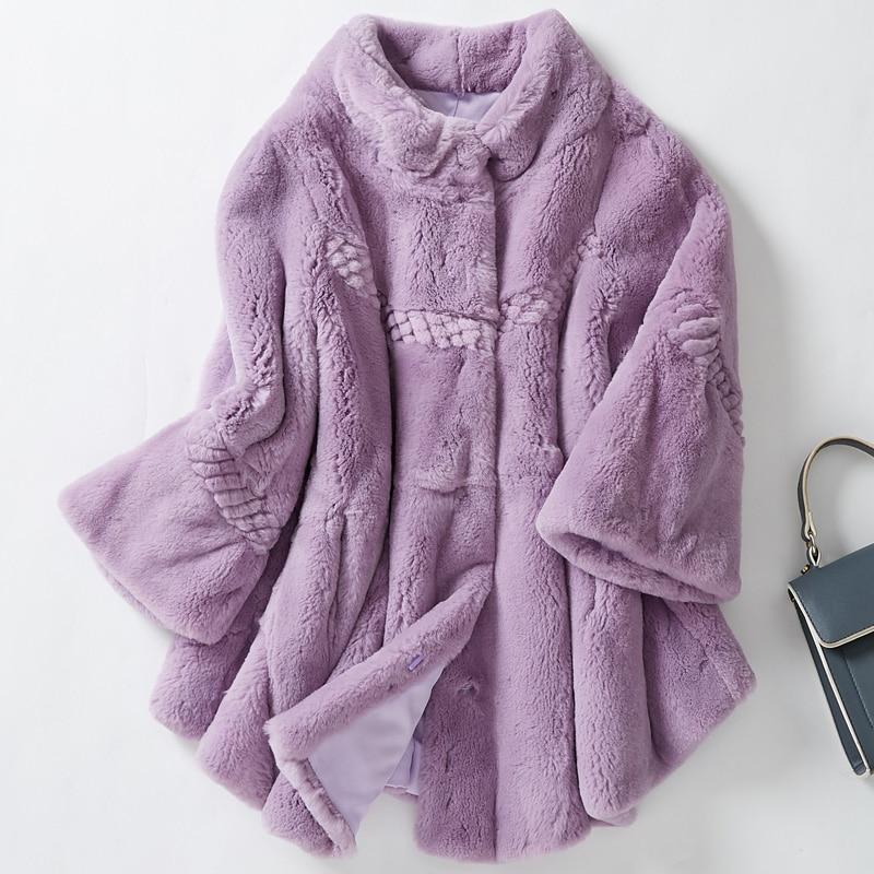 Flower Cut Loose Fit Natural Rex Rabbit Fur Coat Women Plus Size Stand Collar Real Fur Jacket 2019 Autumn Winter Collection